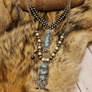 Double Turquoise Western Pearl Necklace Set